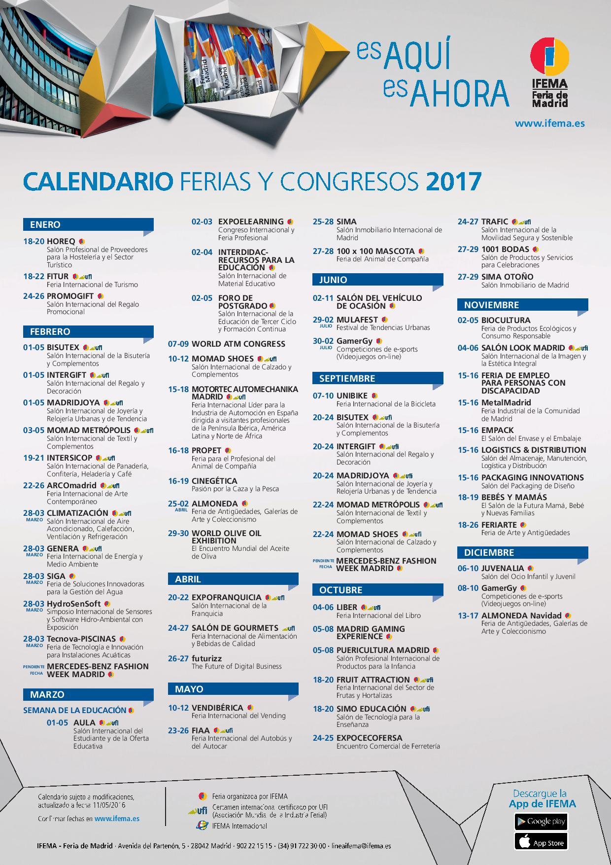 Calendario de ferias y congresos de ifema de 2016 y 2017 for Calendario ferias