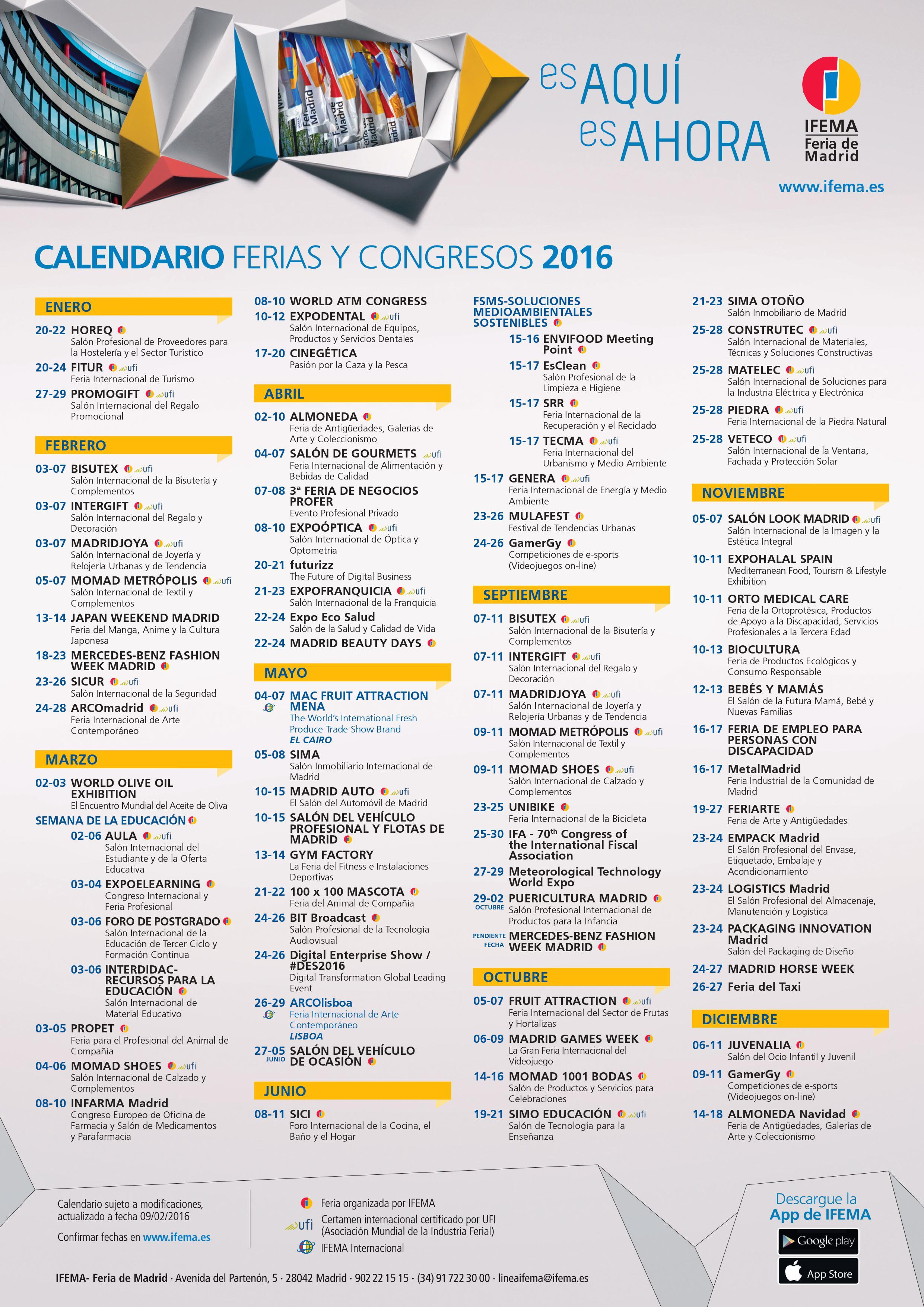 Calendario IFEMA 2016