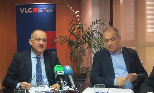 Joan Calabuig y Antoni Bernabé en la rueda de prensa de Turismo Valencia